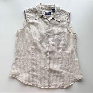 Vintage Liz Sport Linen Button Up Top